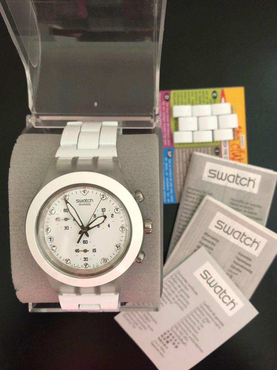 471f23b0edd relógio feminino swatch irony diaphane branco - relógios swatch