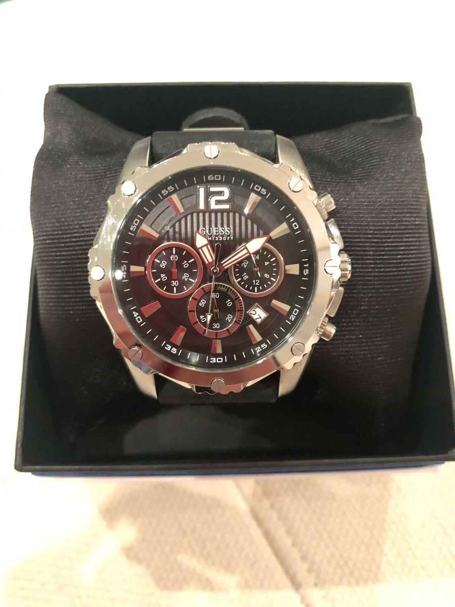 8d052439d6a39 relógio guess analógico com pulseira de borracha preta - relógios guess