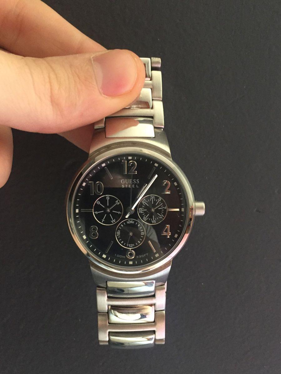 955e727f70e relógio guess masculino ponteiro usado (bateria nova) - relógios guess