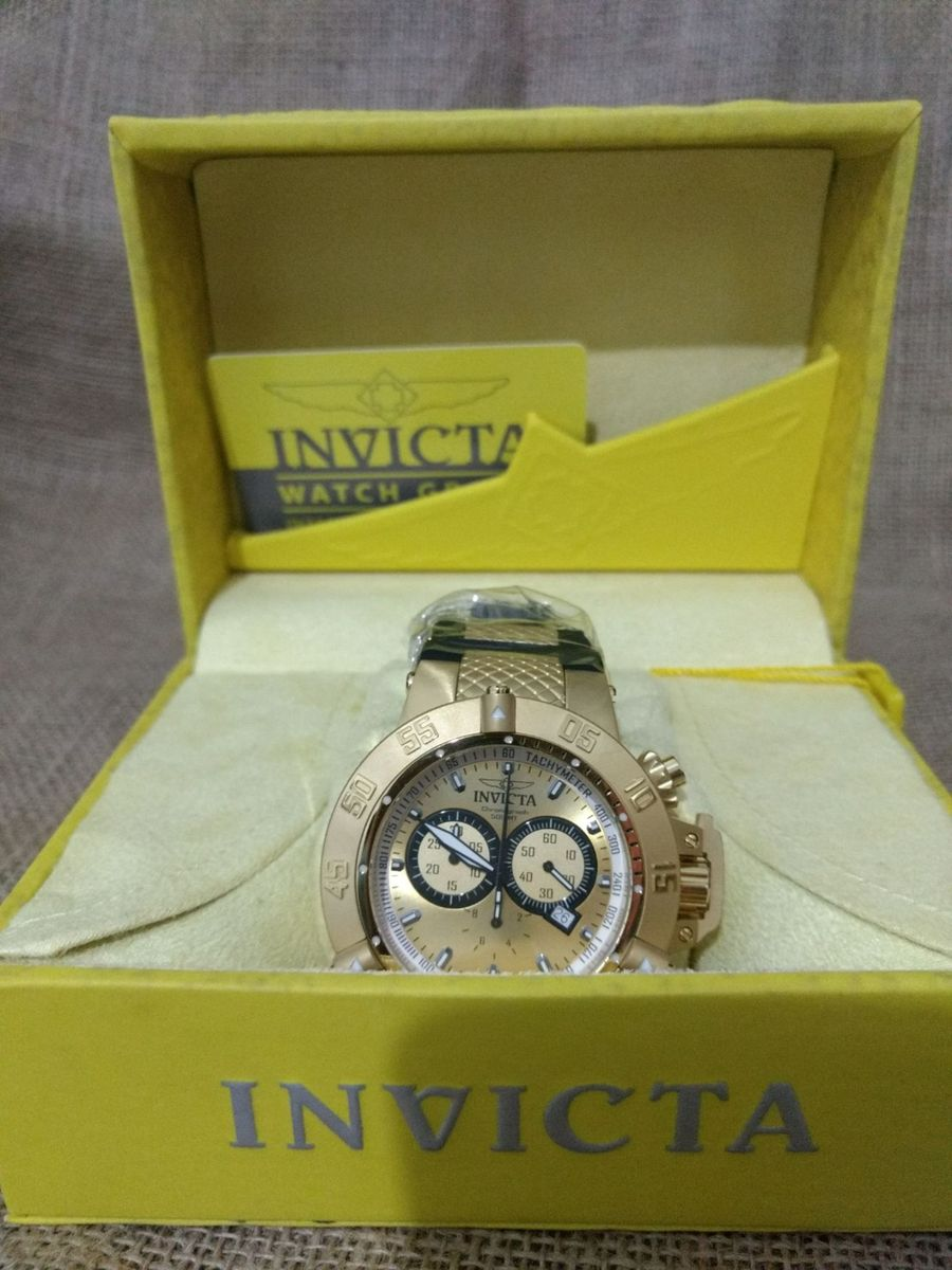 5497a9a1e87 relógio invicta 5517 subaqua noma 3 lll banhado ouro 18k grande 50mm -  original - relógios