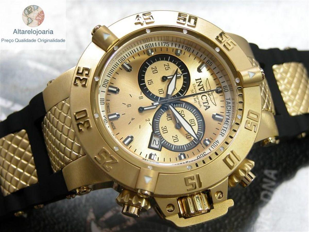 e8e27169d30 Relógio Invicta Cronógrafo Subaqua Suiço 5517 Plaque Ouro