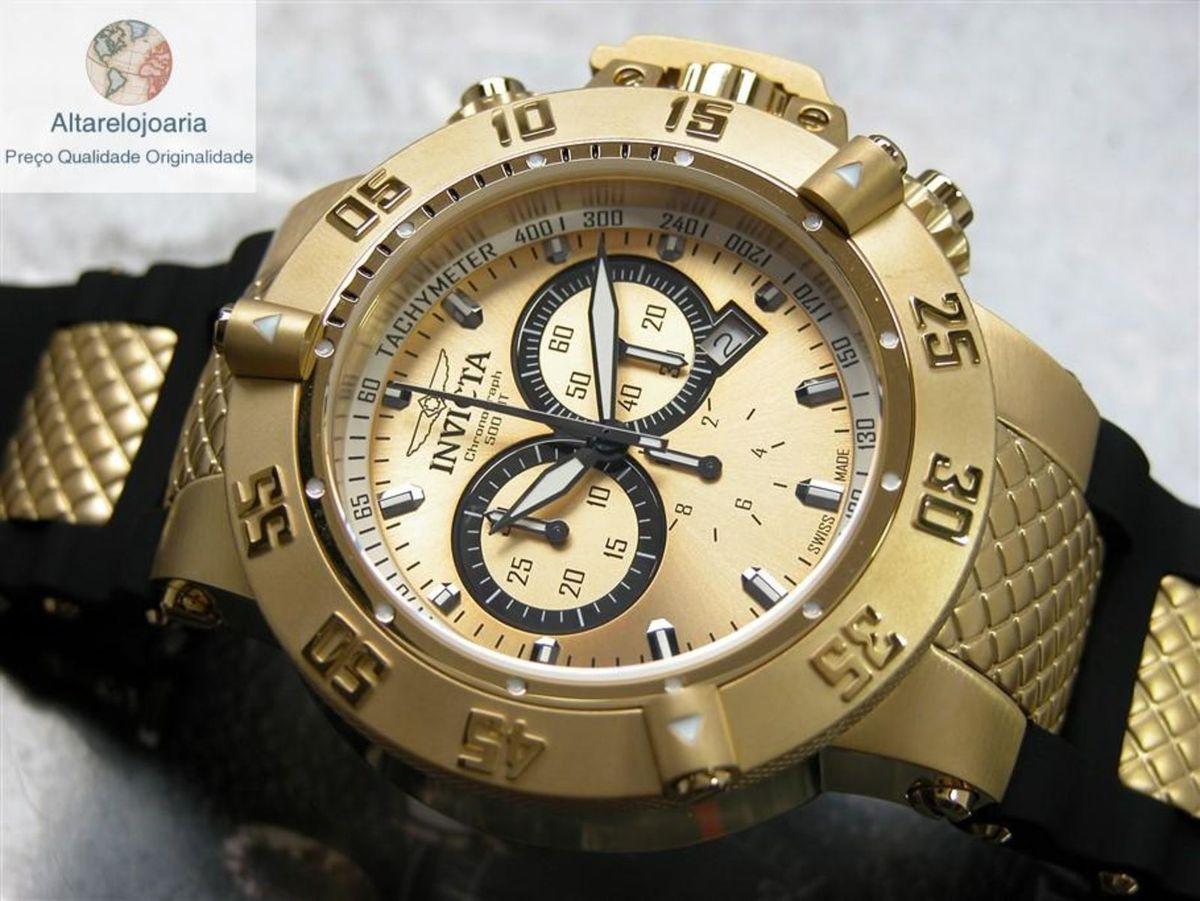 803cc857625 relógio invicta cronógrafo subaqua suiço 5517 plaque ouro - relógios invicta