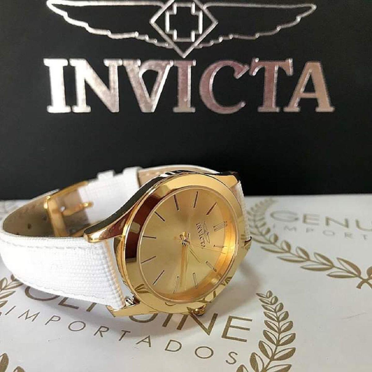 efa6f57003f Relogio Invicta Original Angel 15149 Banho de Ouro 18k Pulseira Couro  Branco
