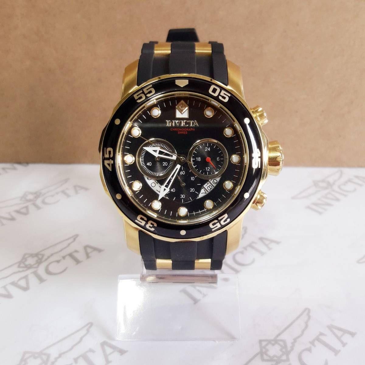 309820a3de8 Relógio Invicta Pro Diver 6981 Original Preto com Dourado Completo ...