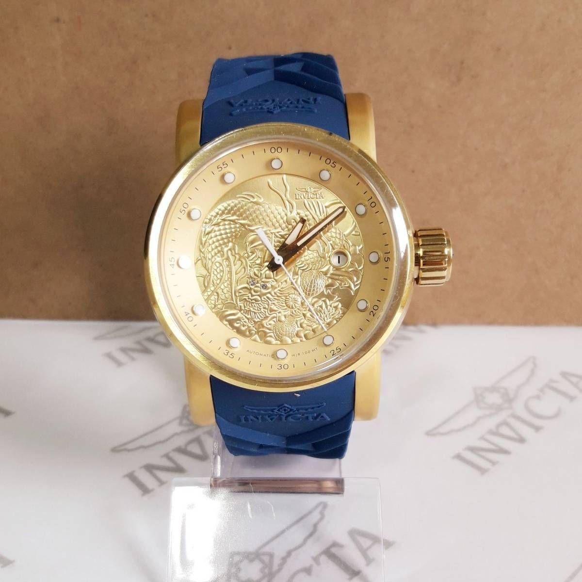 bed5f3a168e Relógio Invicta S1 Yakuza Original Azul com Dourado Saldão