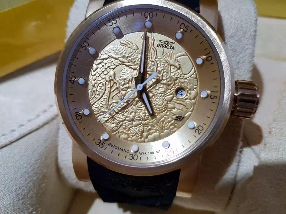 b232a1f435b relógio invicta yakuza s1 dragon automatico preto - relógios invicta
