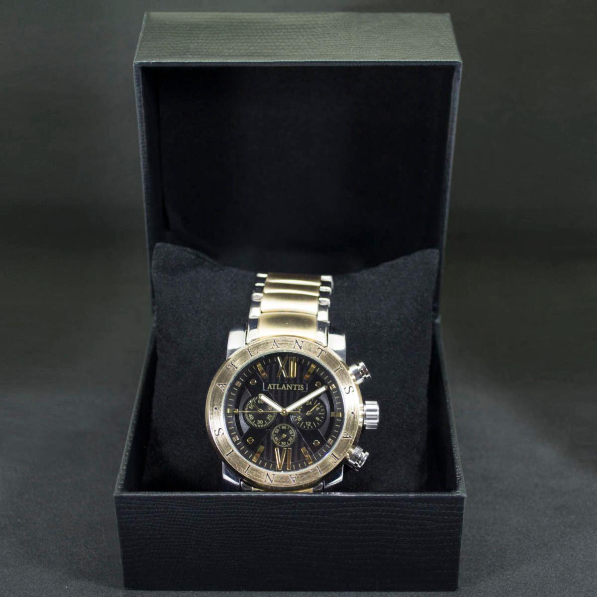 6f976c6c5fb Relógio Masculino Luxo Atlantis Original Dourado