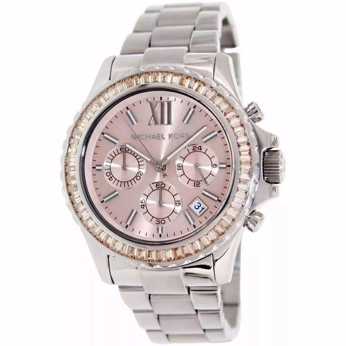 relógio michael kors mk5870 prata rose caixa e manual gf65 - relógios  michael kors 3dec42e436