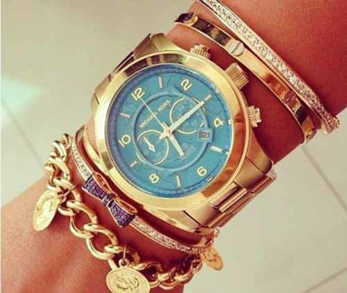 4250d87a9164b relogio michael kors mk8315 oversized azul turquesa original - relógios  michael kors