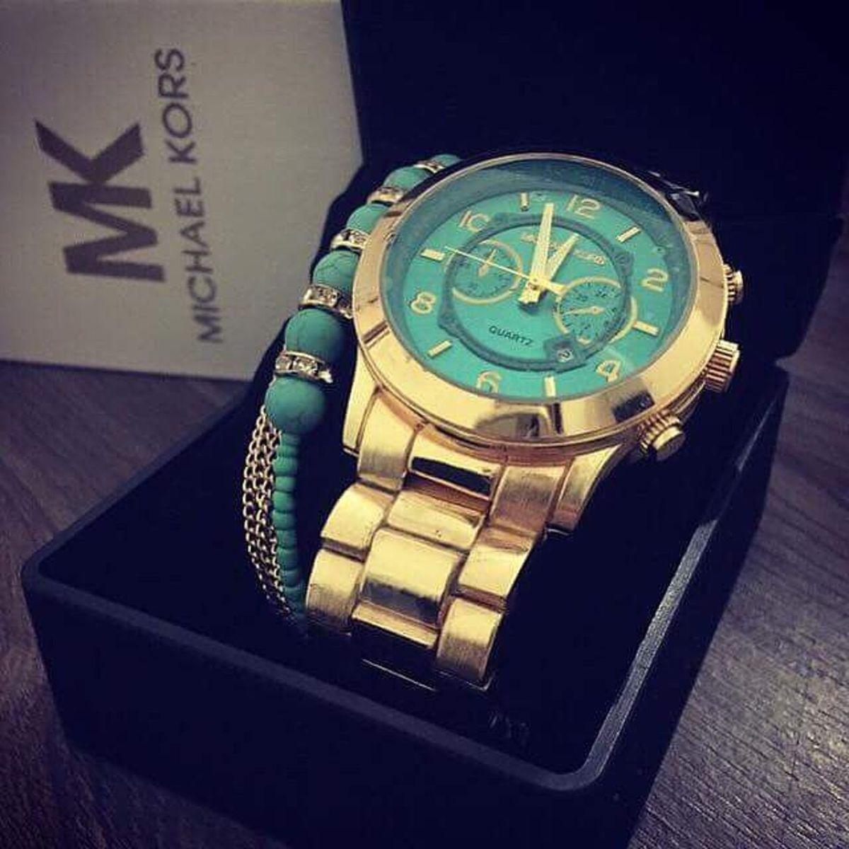 Relogio Mk 8315 Azul Dourado   Relógio Feminino Michael Kors Nunca ... 0d24929385