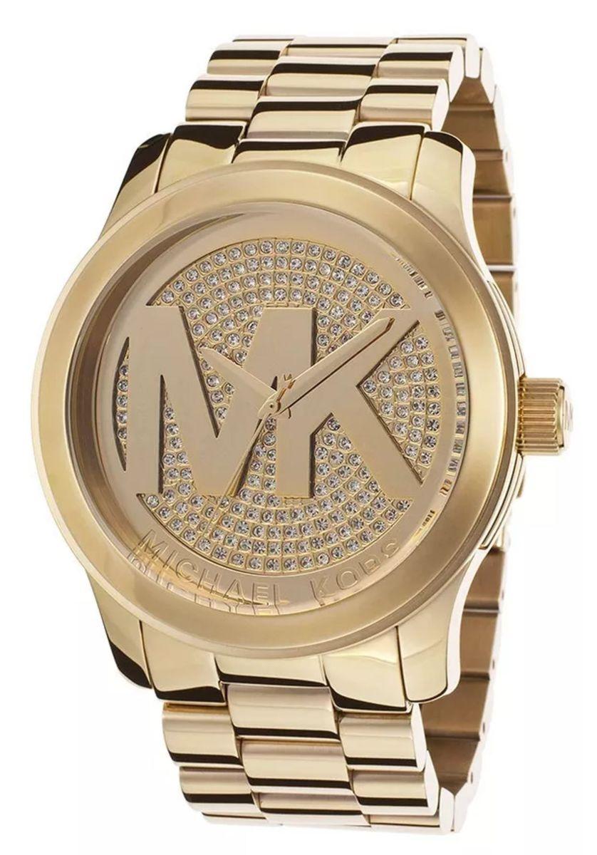 5e131774d relógio mk michael kors mk5706 dourado com crista com caixa e manual rt3829  - relógios mk