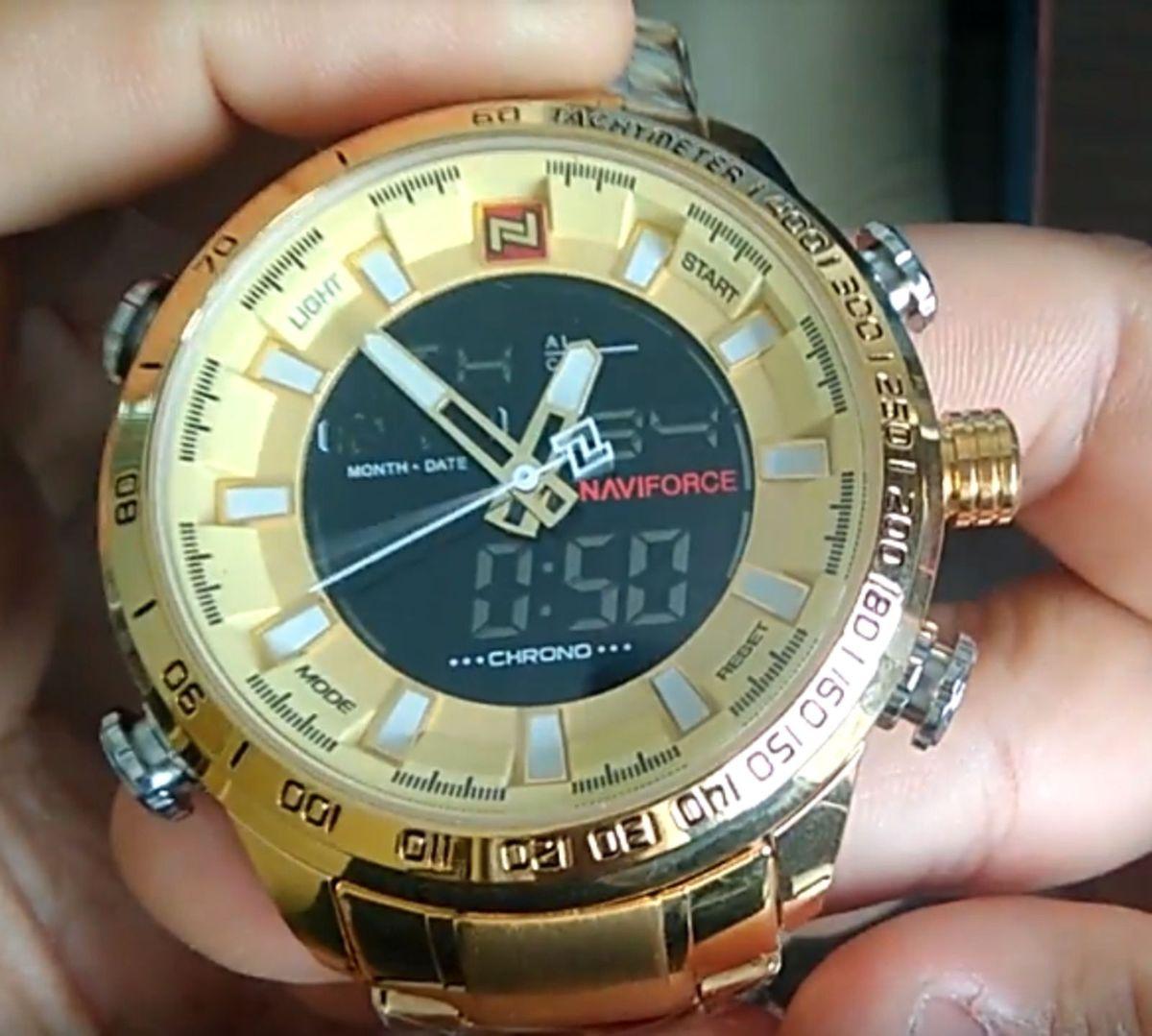 addfc5e1728 relógio original naviforce em aço inox dourado - relógios naviforce