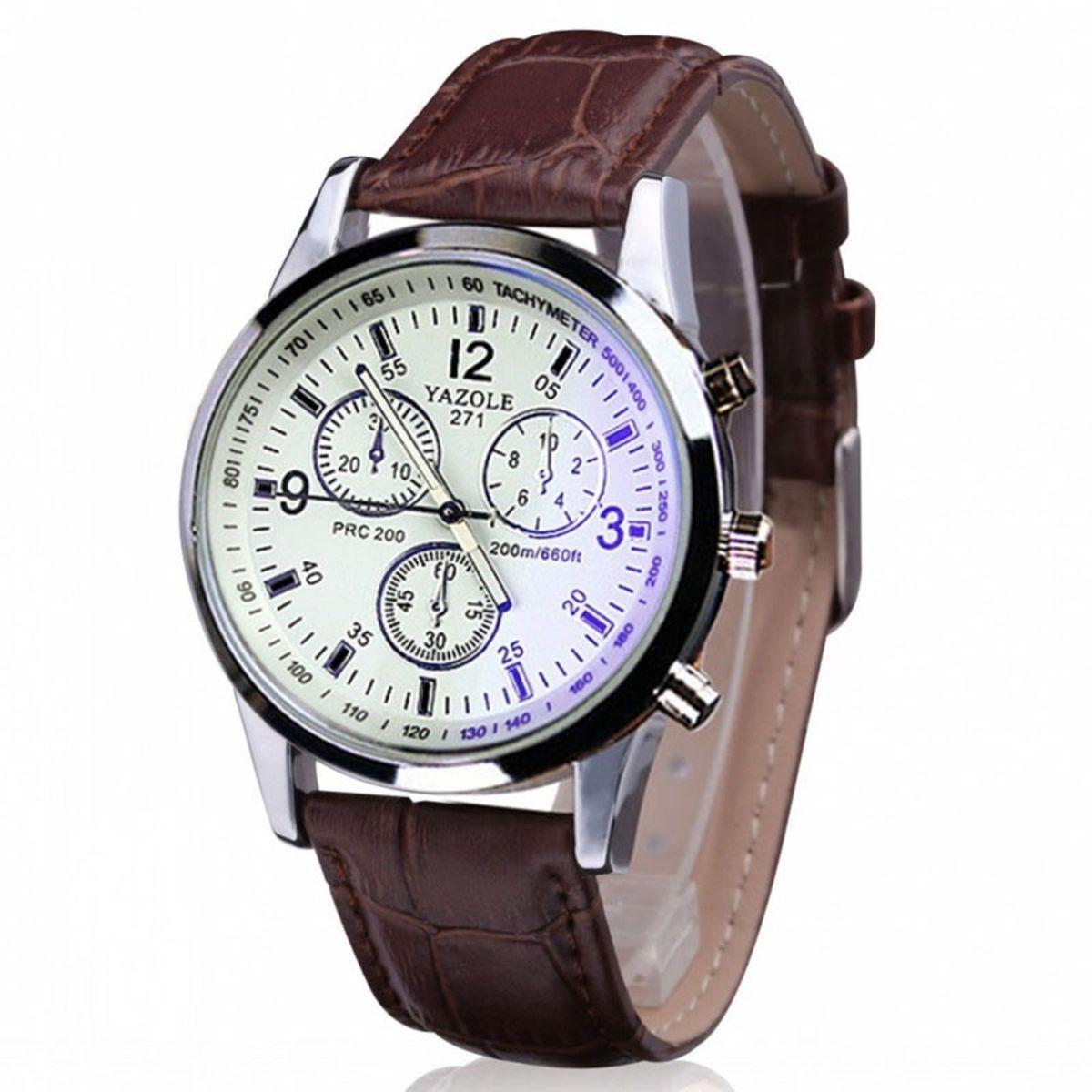 56171674527 Relógio para Homem Pulseira de Couro Marrom Bom Preço Barato ...