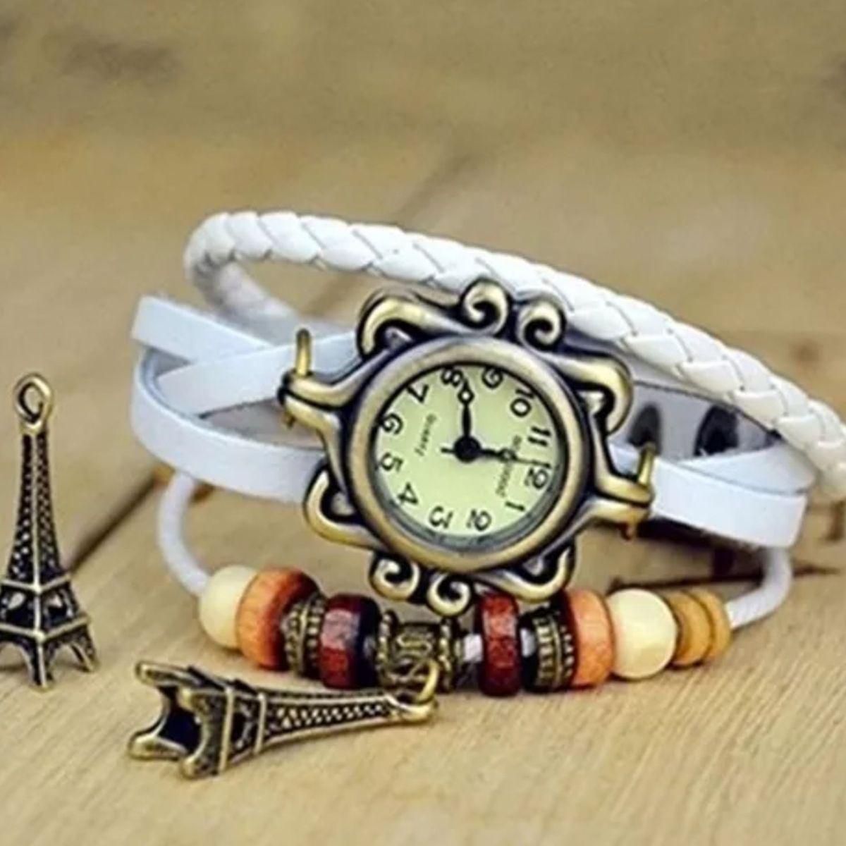 b1bbfab676b Relógio Pulseira de Couro com Pingente Vintage Feminino Branco Torre Eiffel