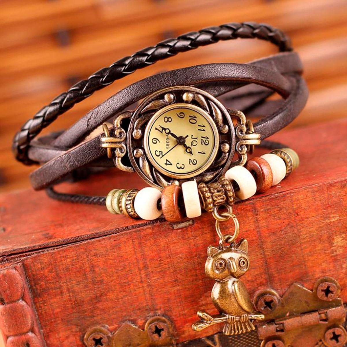 a5b0287d1fe Relógio Pulseira de Couro Pingente de Coruja Modelo Rústico ...