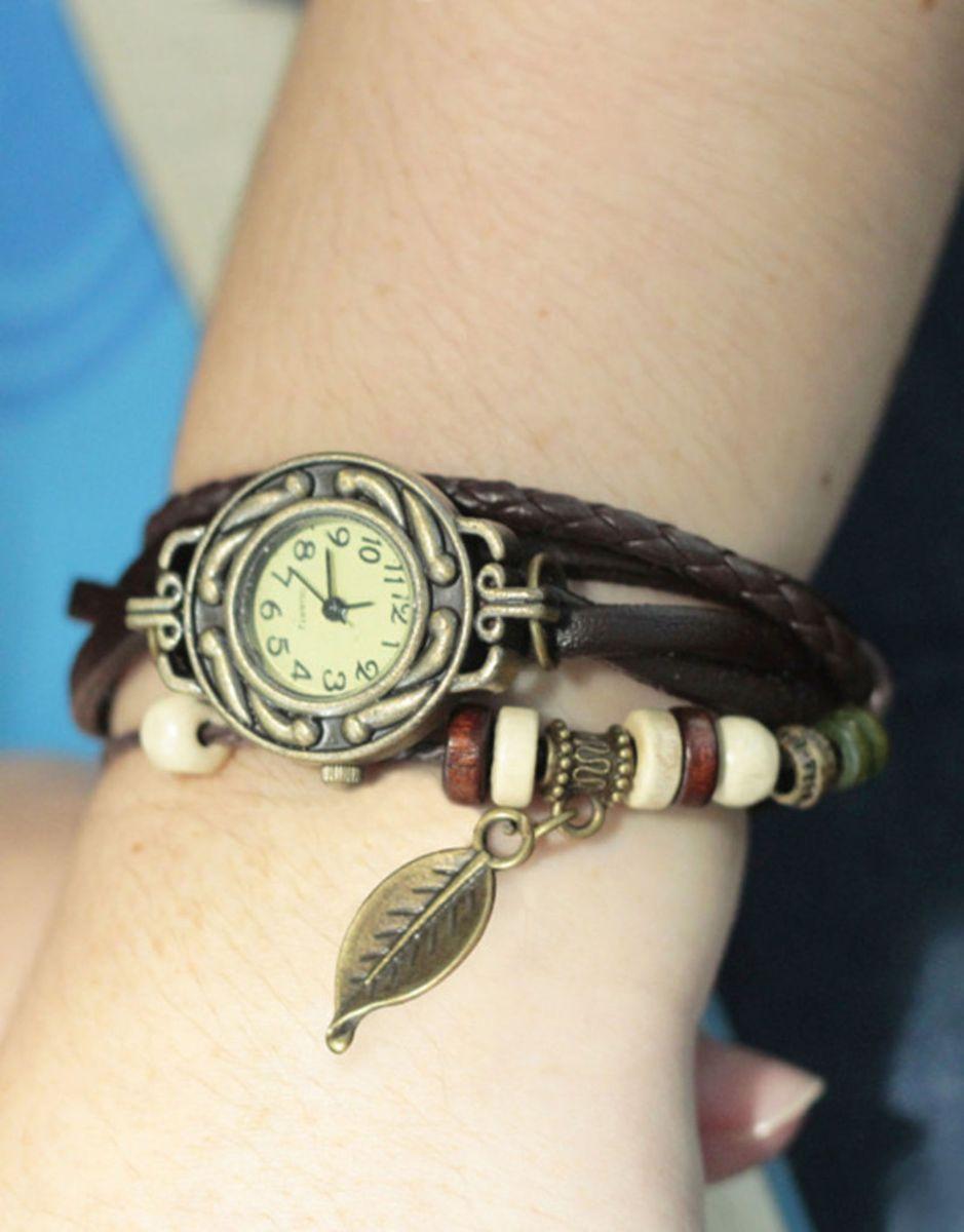 d89491d2aa5 relógio pulseira de couro pingente de pena modelo rústico - relógios  artesanal