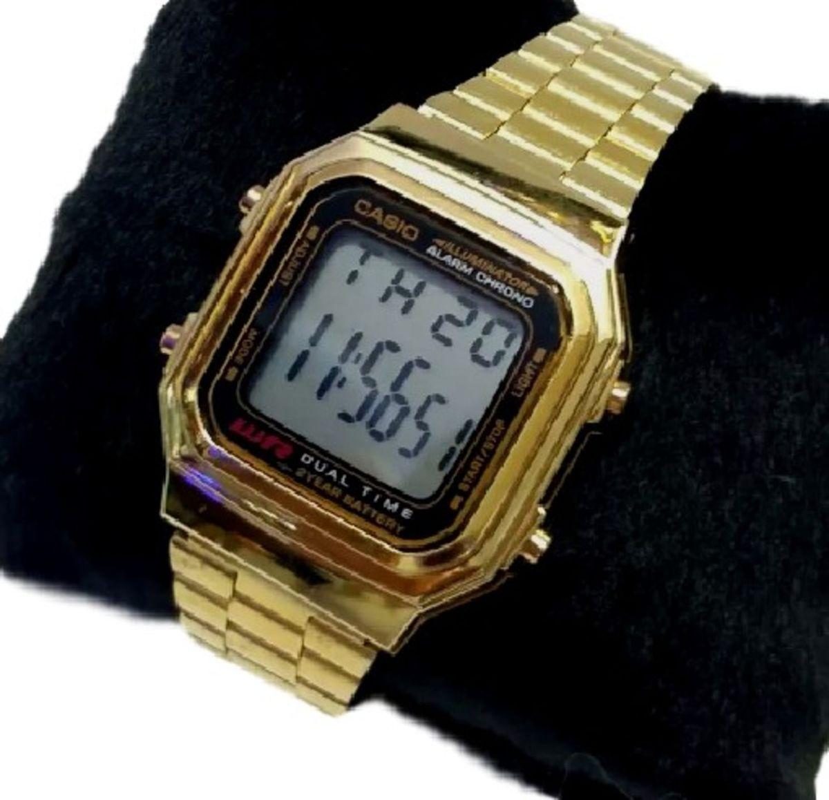 6206a97f2cf relógio pulso aço unissex casio a178 dourado promoção - relógios casio