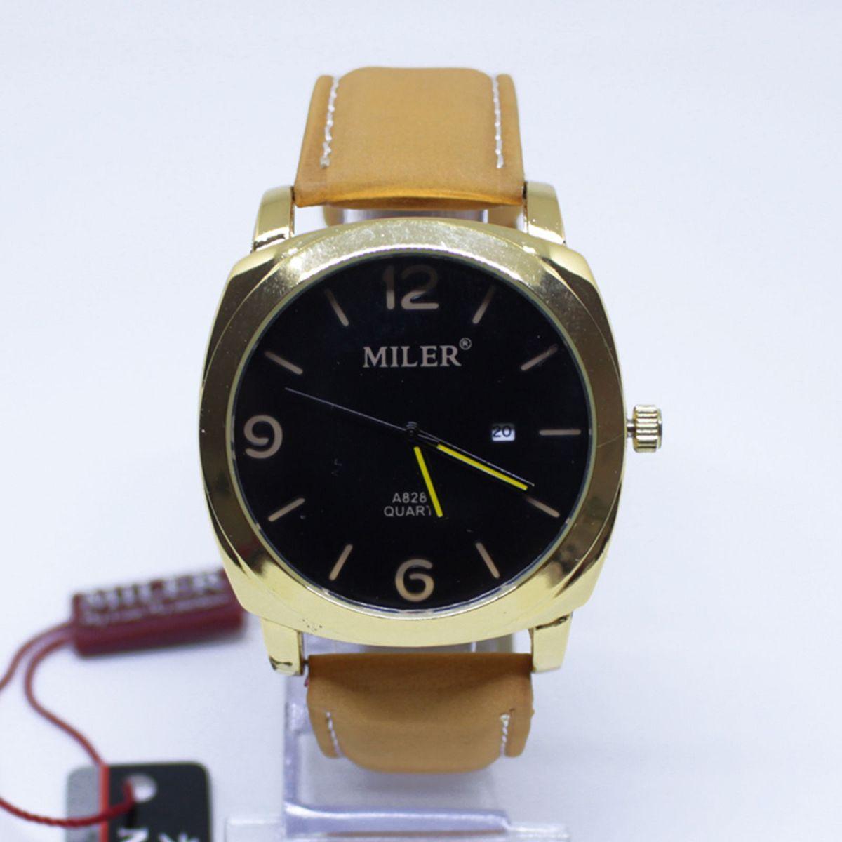 158d280470d Relógio Pulso Masculino Miler Pulseira Couro Caramelo Bisel Dourado Visor  Preto