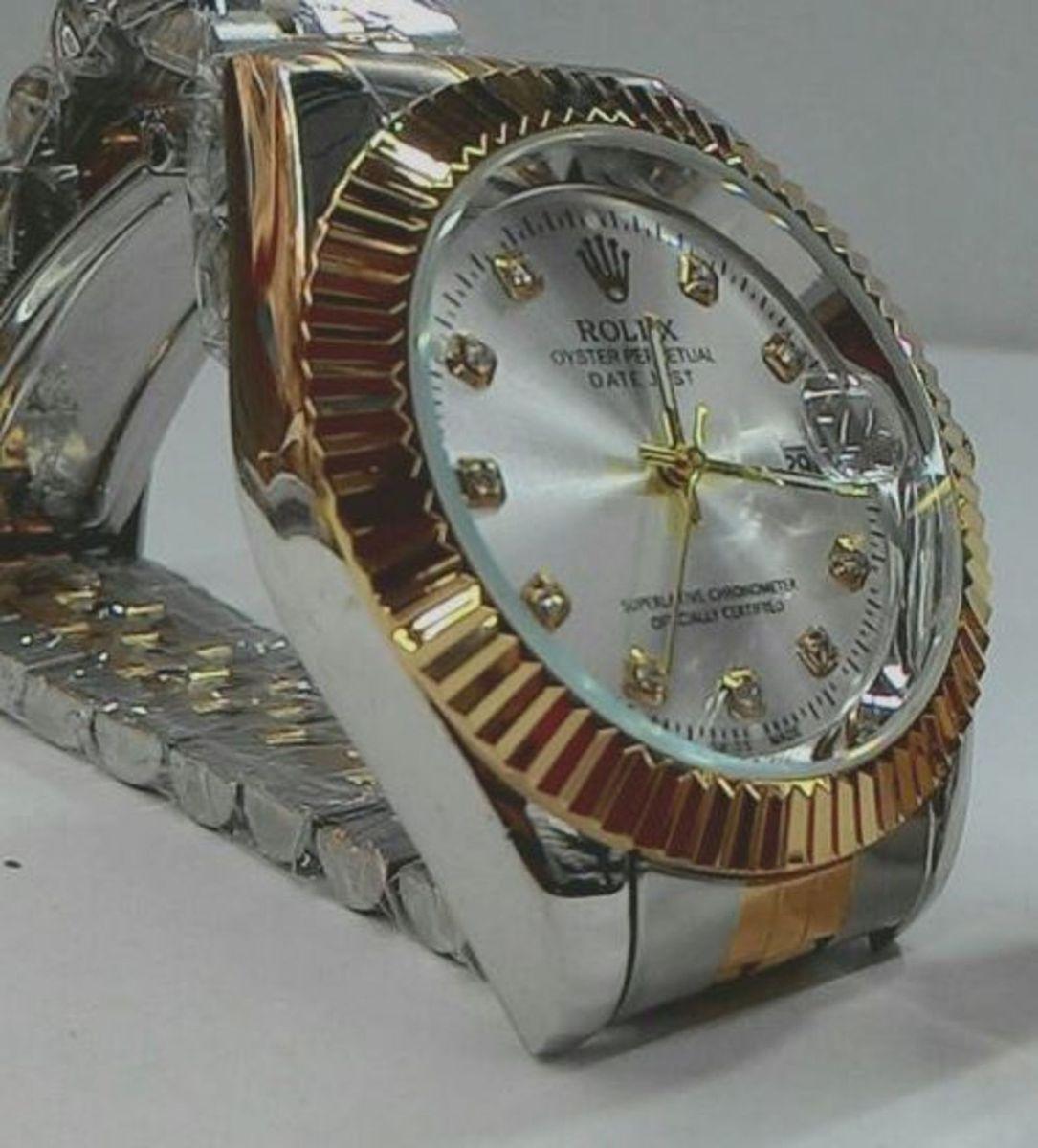 28c3b86d64b relógio rolex prata com dourado lindo - relógios rolex