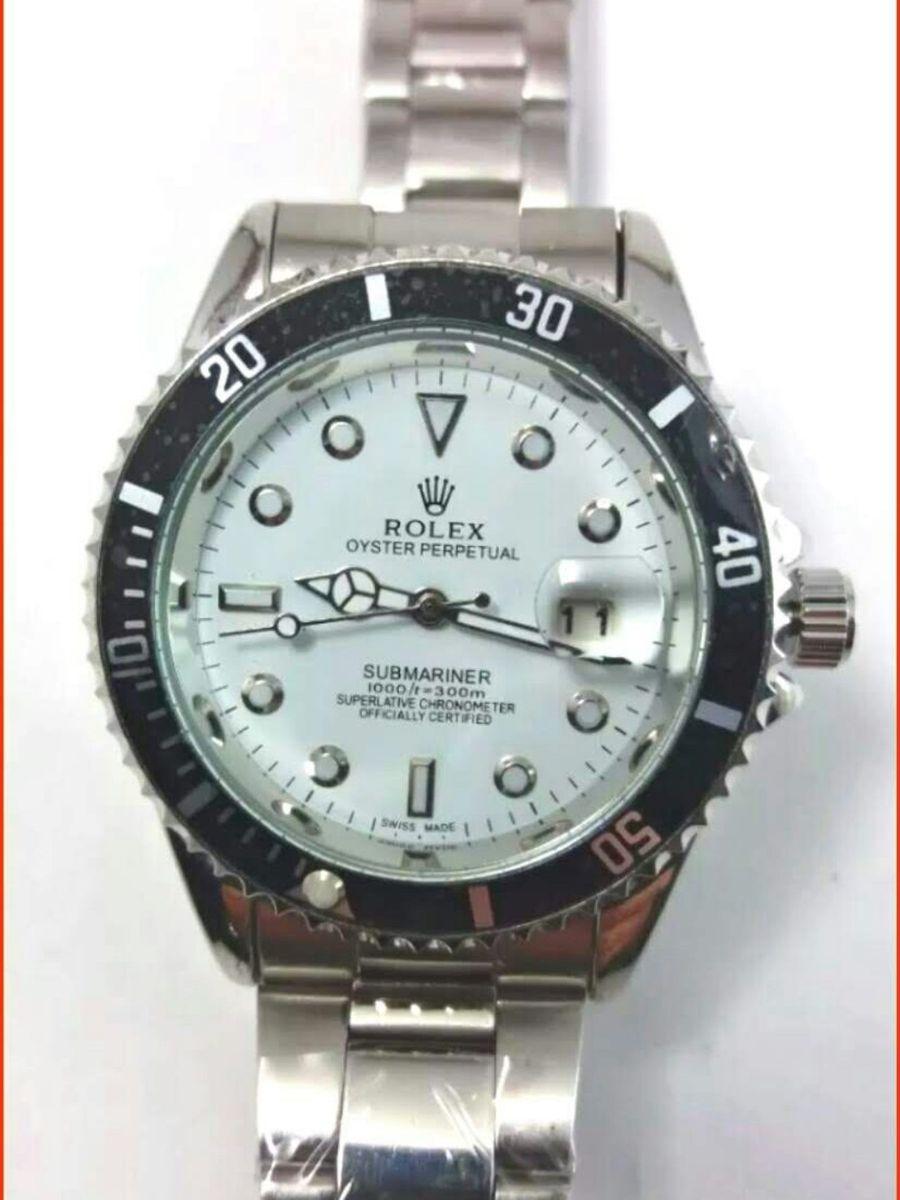 23bbc534e35 relógio rolex submariner aço e branco unissex novo na caixa todo funcional  - relógios rolex