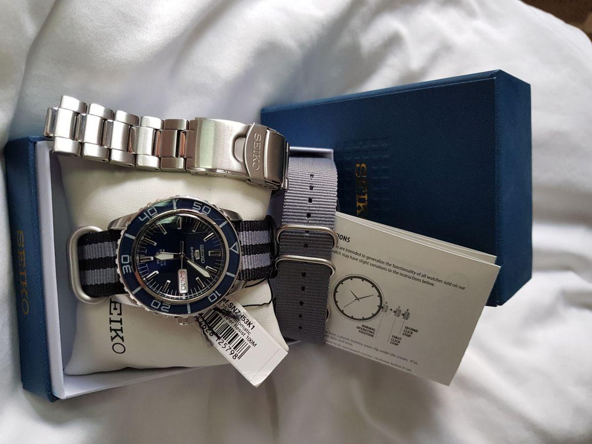 03f65c6dcc8 relógio seiko 5 diver azul automático - snzh53j1 - relógios seiko