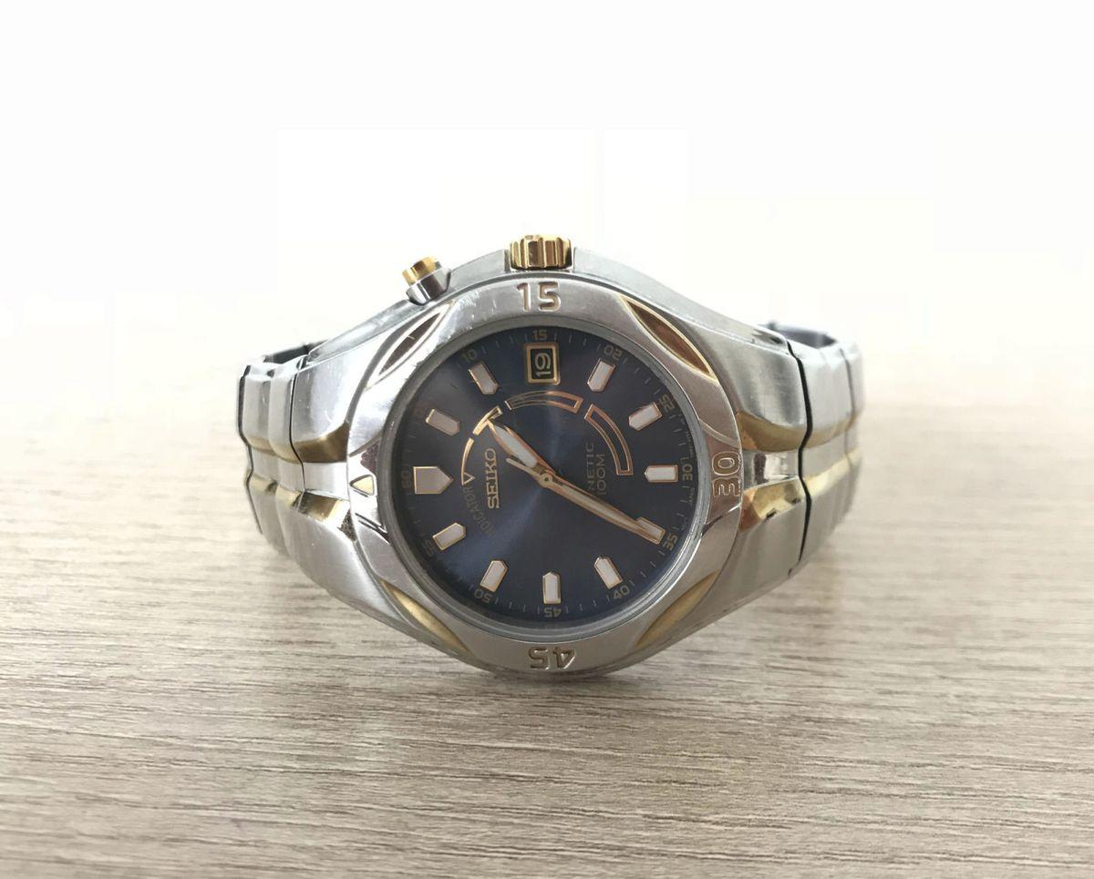 6a7570b661e relógio seiko clássico kinetic japan 5m62 objo - relógios seiko