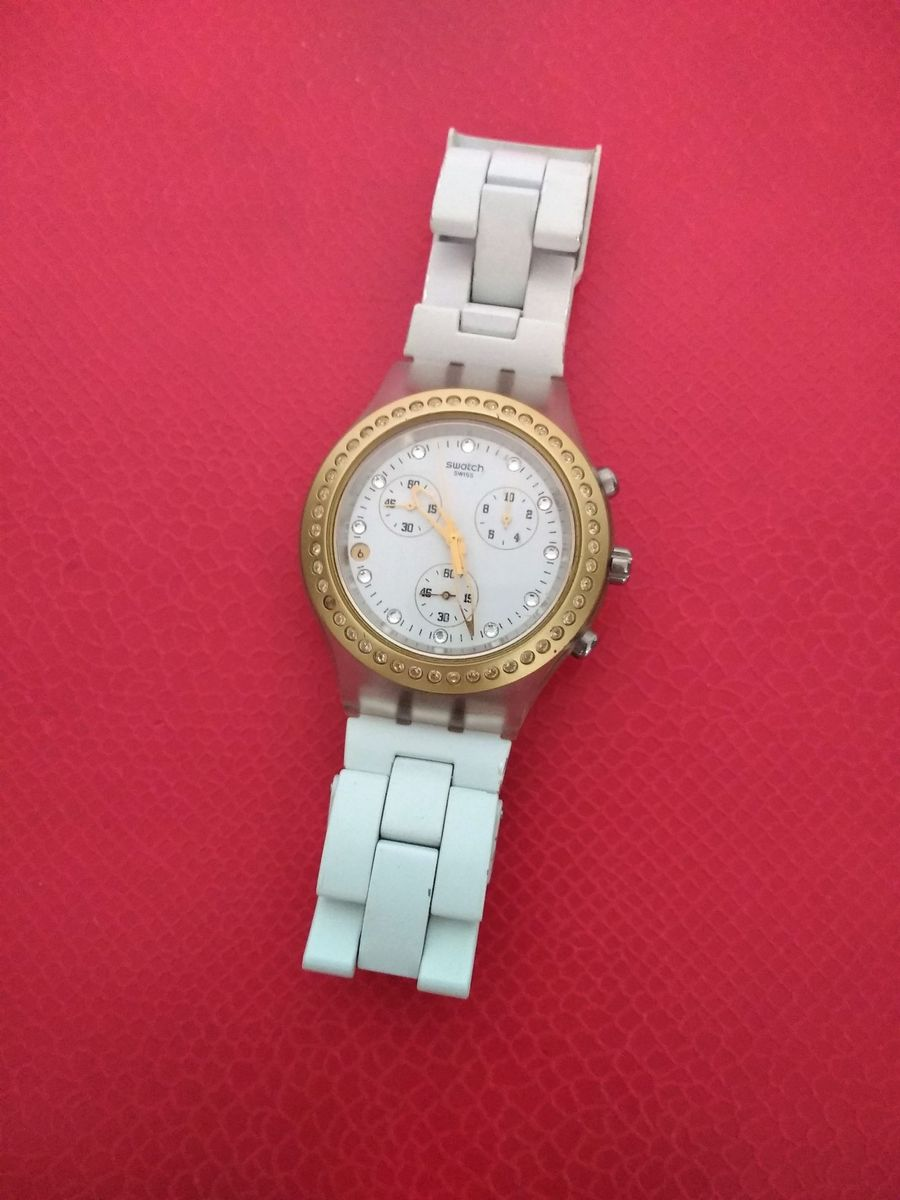 88e9ce3fa3d relógio swatch diaphane full blooded branco original - relógios swatch