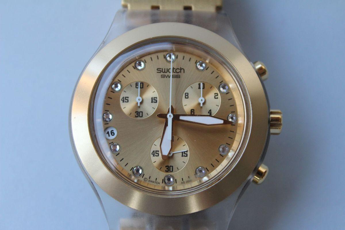 0ec01a2f5fb Relógio Swatch Dourado Original - Irony Diaphane