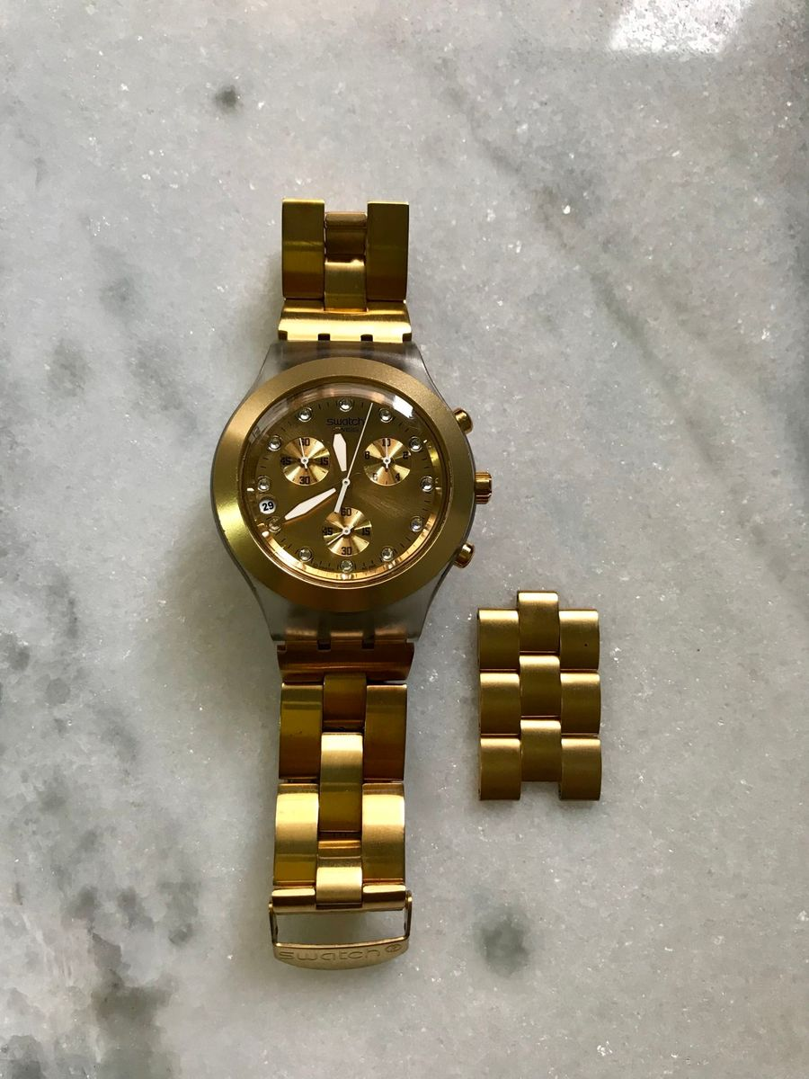 2a3e98915f6 relógio swatch full blooded dourado - relógios swatch