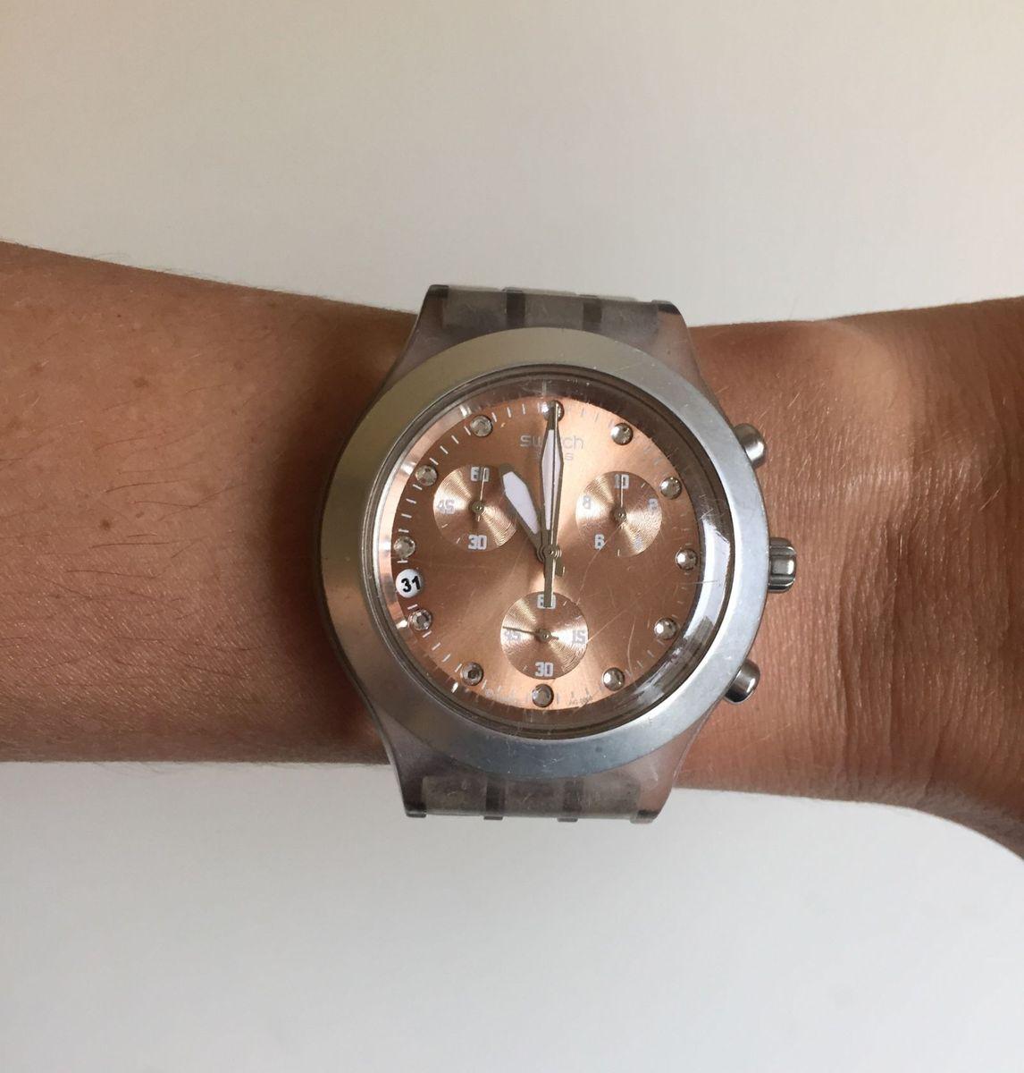 524949795b8 relógio swatch irony diaphane rosa caramelo - relógios swatch