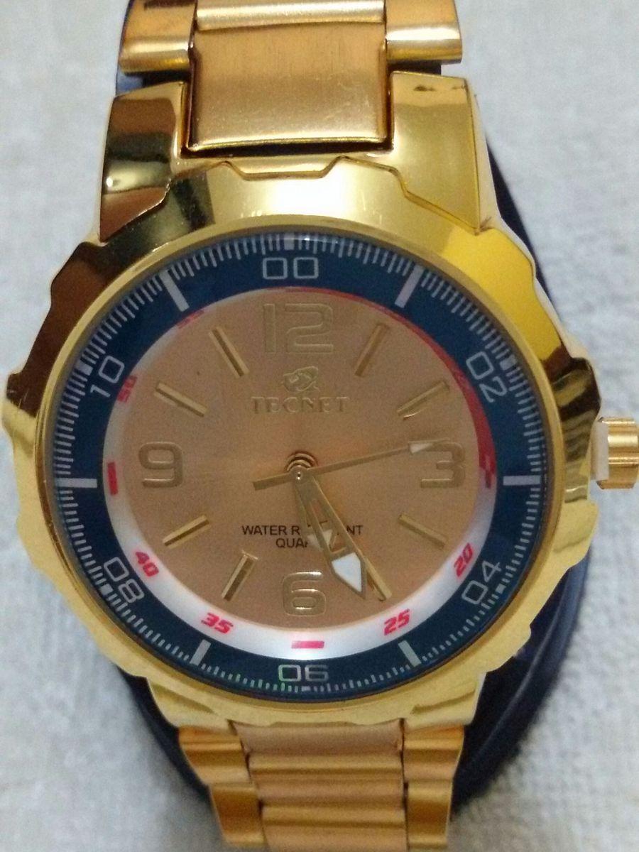 b58b29f6ac7 relógio tecnet feminino dourado à prova dagua - relógios tecnet