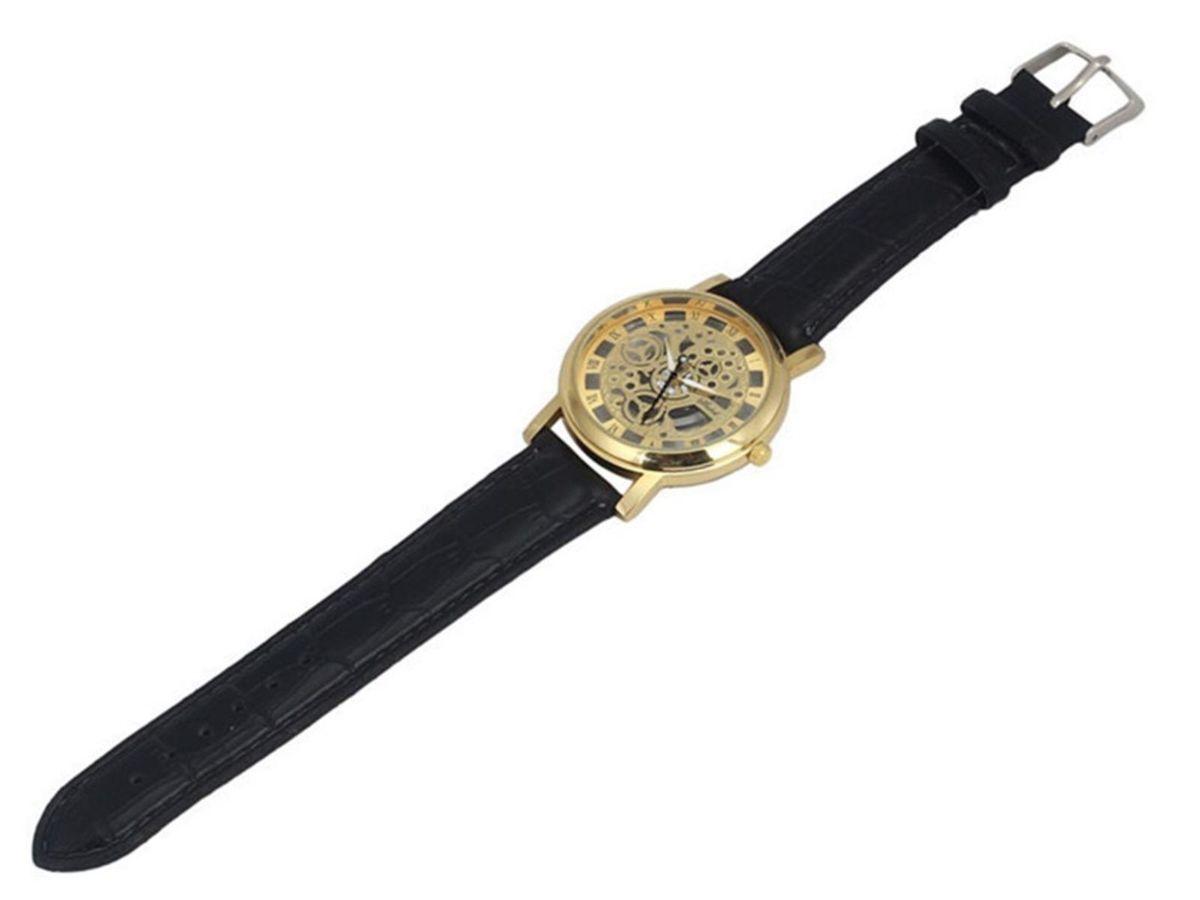 a6cf68e1219 Relógio Transparente Dourado Masculino Pulseira de Couro