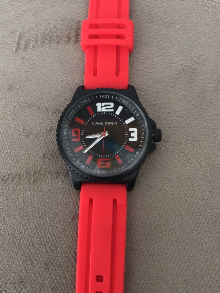 7213738b50b relógio vermelho e preto - relógios raphael steffens