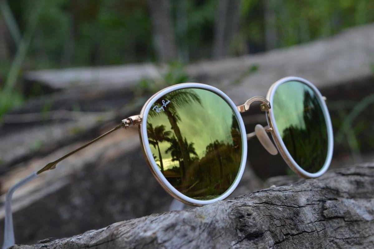 27ea598b926aa Round Amarelo Espelhado Dobrável Armação Dourada   Óculos Feminino ...