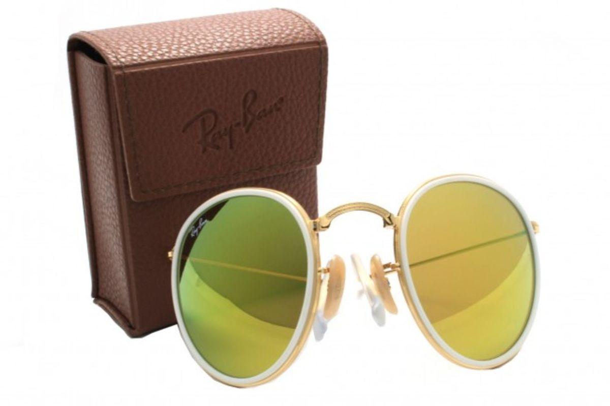 Round Dobrável Dourado Verde Espelhado   Óculos Feminino Ray Ban ... f46ecf2452