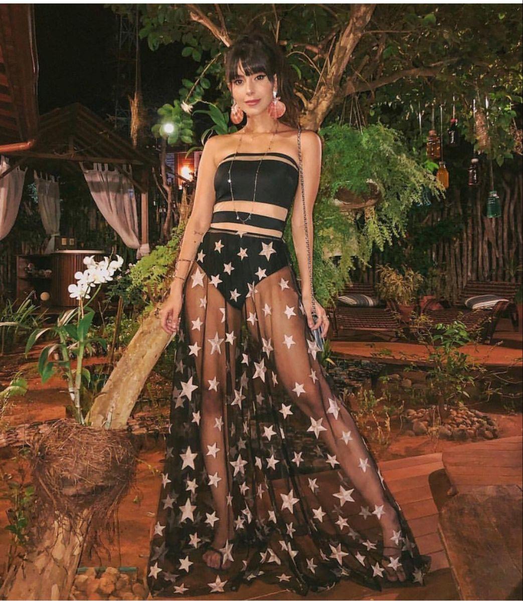 saia estrelas - saias contém moda