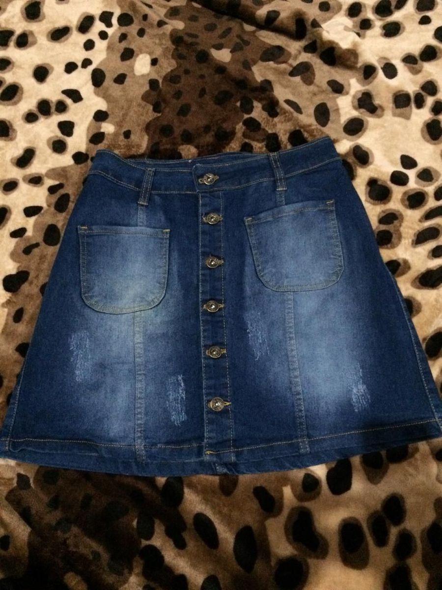 saia jeans cintura alta - saias heyi
