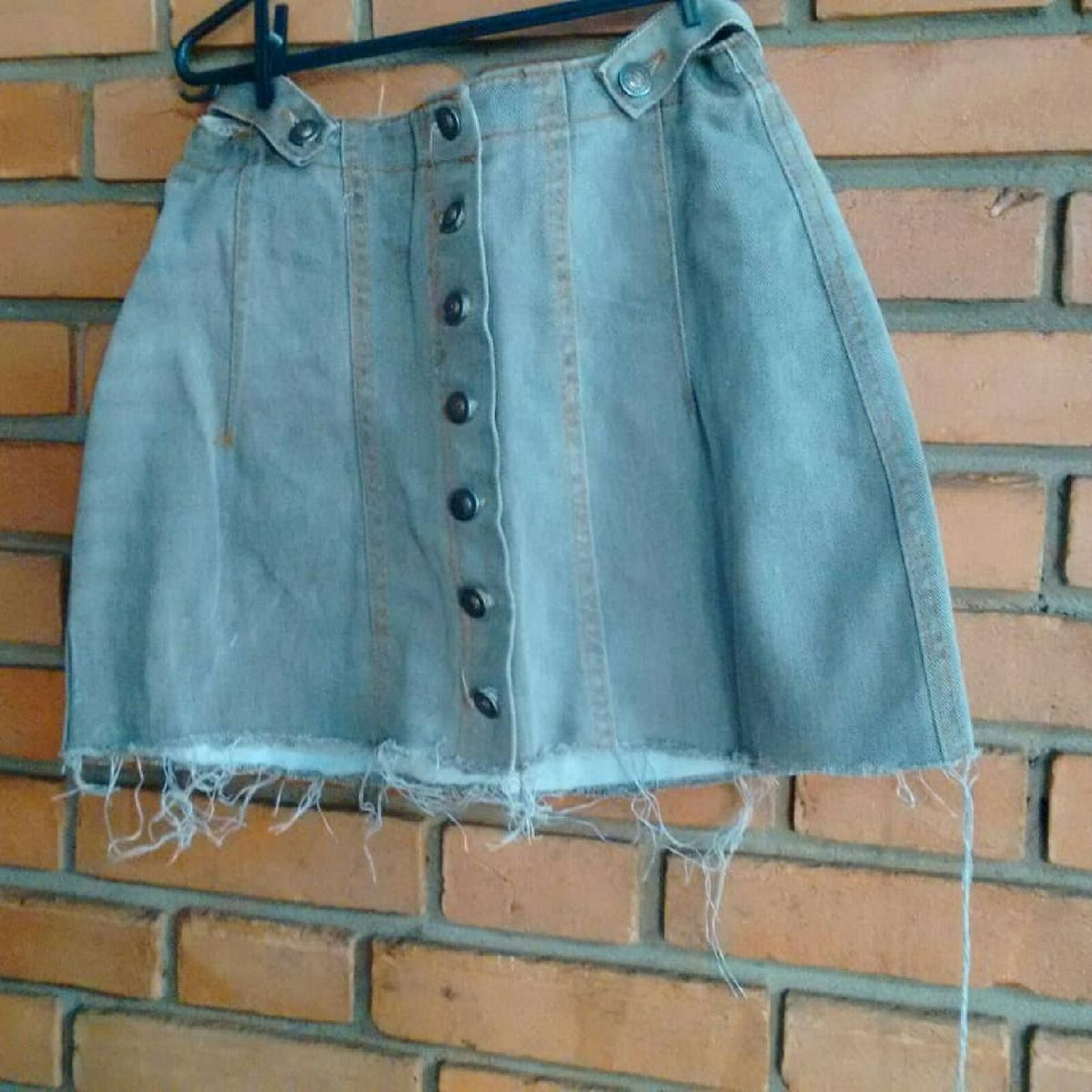 saia jeans vintage com botoes - saias feito-a-mao