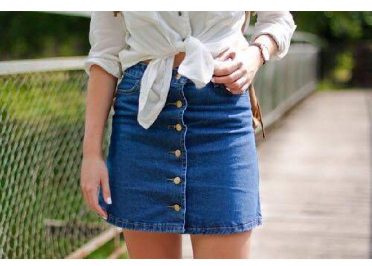 saia jeans vintage - saias aline-santos-store