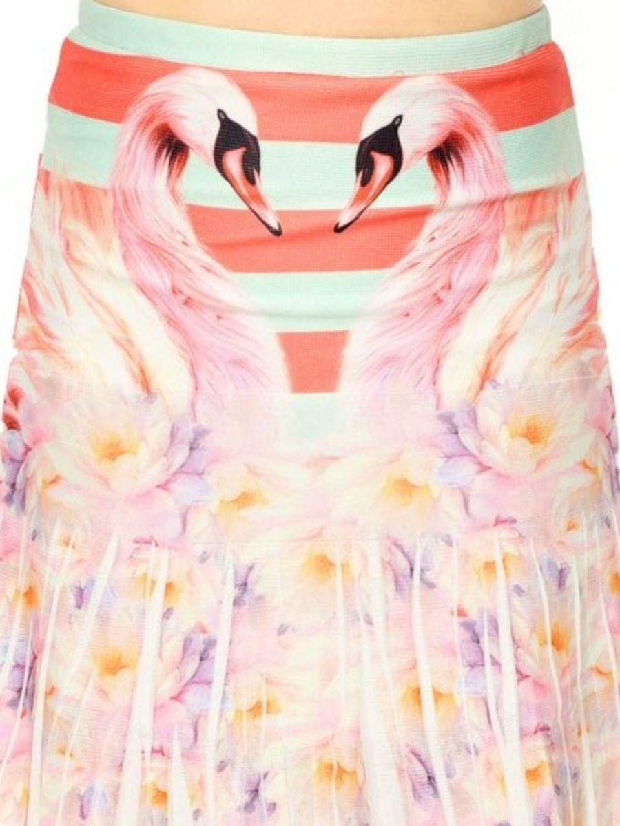 9679c609a0d2 Saia Lança Perfume Evasê Flamingos | Saia Feminina Lanca Perfume ...