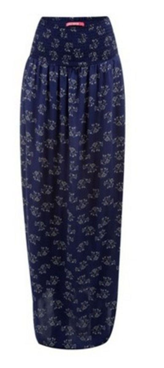 699984a986 saia longa estampada de elefantes azul marinho - saias c a