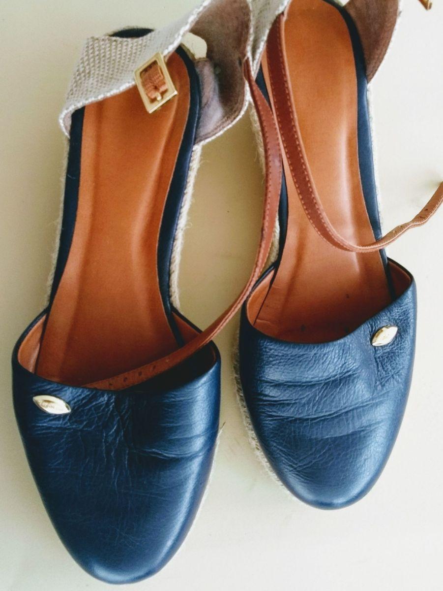 3909ade18 sandália anabela espadrille couro azul luz da lua - sandálias luz-da-lua