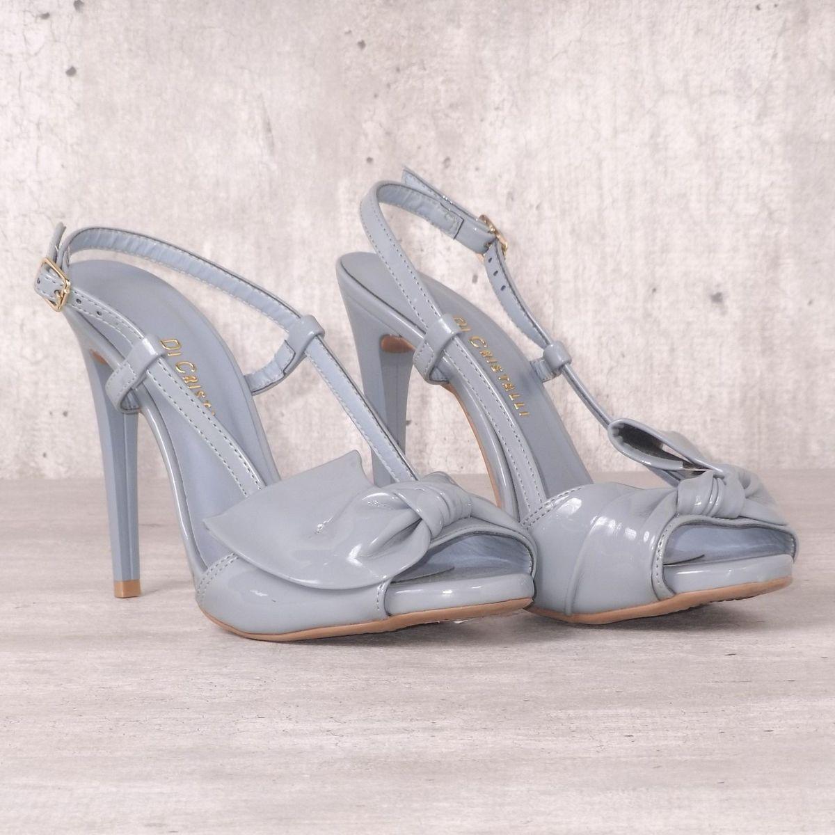550f027fc6 Sandália Azul Envernizado Laço