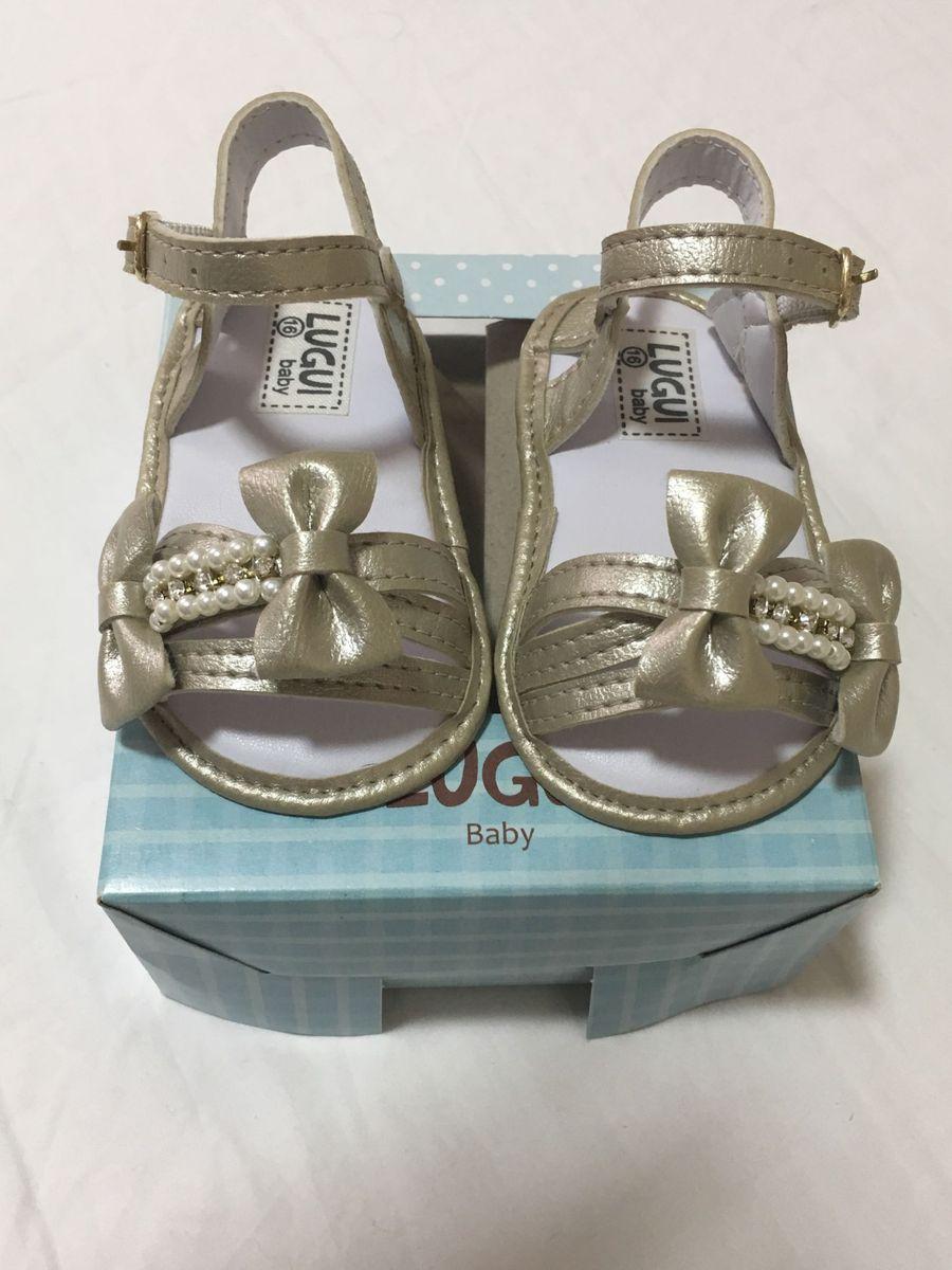 b082da7e2 Sandália Dourada Lugui Tamanho 16 | Calçado Infantil para Bebê Lugui ...