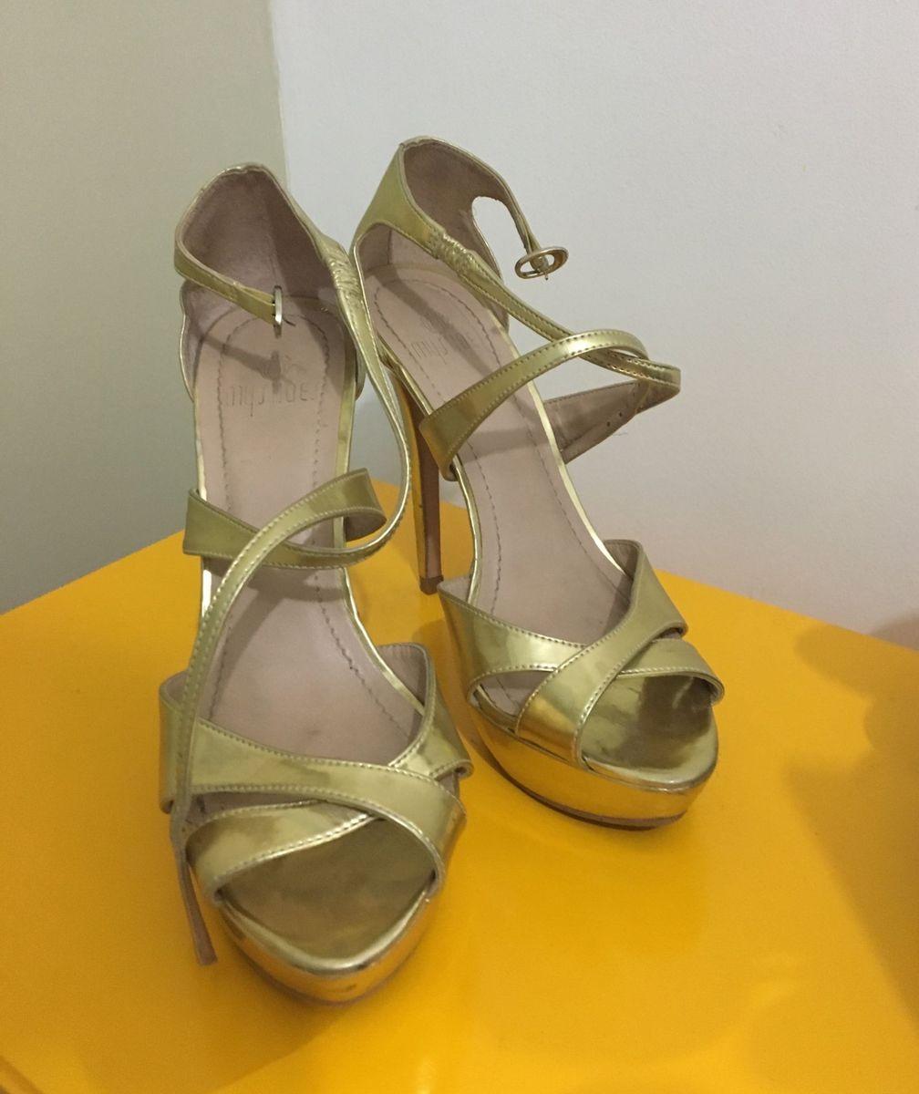 sandália dourada - sandálias my shoes
