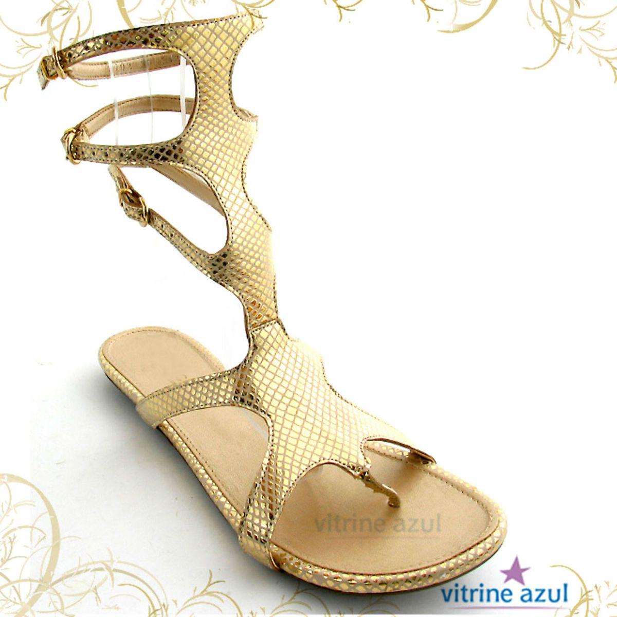 3d2501cd89 Sandália Gladiadora Dourada