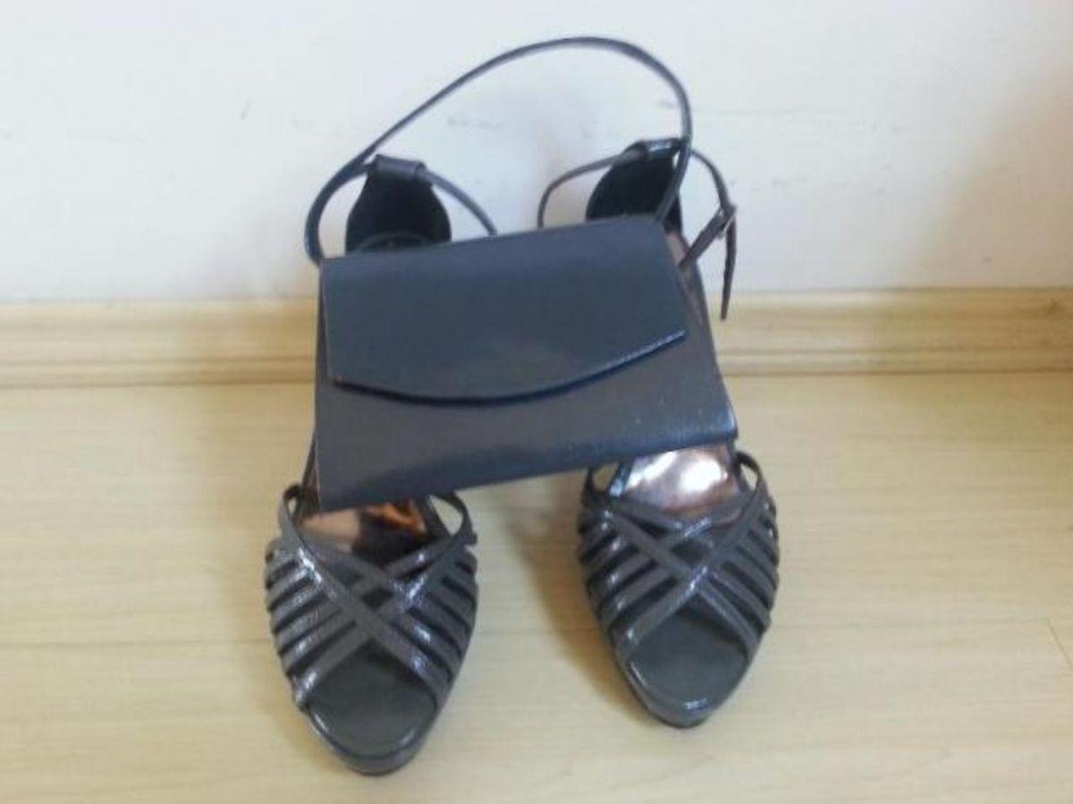d98937aa7 sandália meia pata nº39 e bolsa de festa grafite - sandálias mágia dos pés