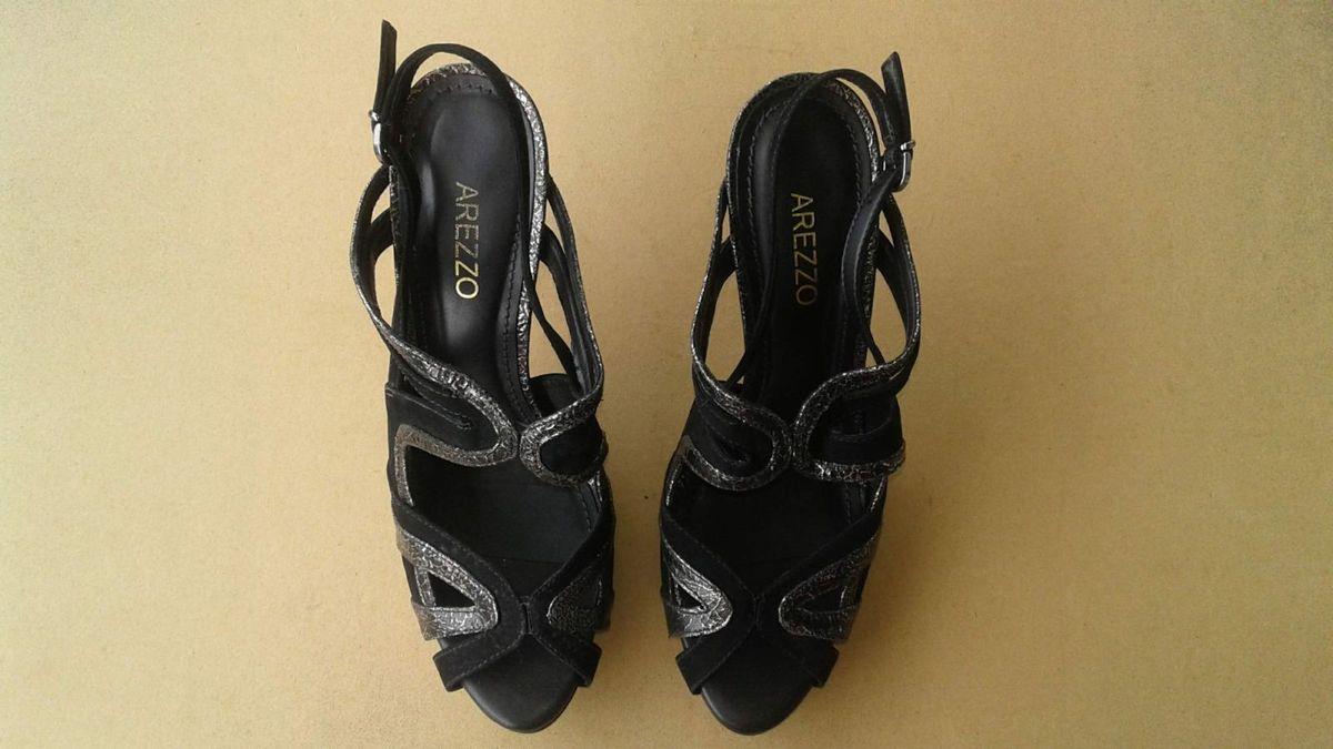 21dccbb8db sandália preta arezzo de couro meia pata nº37 - sandálias arezzo