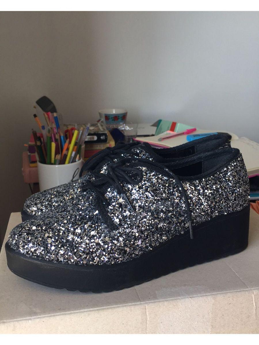 sapato feminino flatform com glitter satinato - sapatos satinato