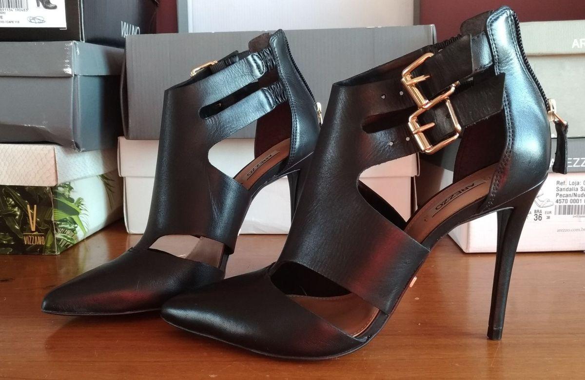 5146839ec sapato sandalia arezzo salto fino alto preto tamanho 35 novo - sapatos  arezzo